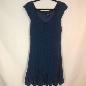 Moda Intl Teal Lace Knit Sweater Dress Sz XL